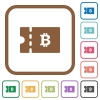 Bitcoin discount coupon simple icons - Bitcoin discount coupon simple icons in color rounded square frames on white background