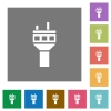 Air control tower square flat icons - Air control tower flat icons on simple color square backgrounds