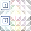 Adjust object height outlined flat color icons - Adjust object height color flat icons in rounded square frames. Thin and thick versions included.