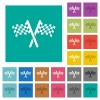 Two chequered flags square flat multi colored icons - Two chequered flags multi colored flat icons on plain square backgrounds. Included white and darker icon variations for hover or active effects.