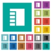 Vertical tabbed layout active square flat multi colored icons - Vertical tabbed layout active multi colored flat icons on plain square backgrounds. Included white and darker icon variations for hover or active effects.