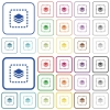 Place layer outlined flat color icons - Place layer color flat icons in rounded square frames. Thin and thick versions included.