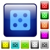 Dice five color square buttons - Dice five icons in rounded square color glossy button set