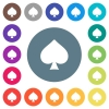 Spades card symbol flat white icons on round color backgrounds - Spades card symbol flat white icons on round color backgrounds. 17 background color variations are included.