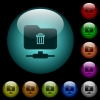 FTP delete icons in color illuminated glass buttons - FTP delete icons in color illuminated spherical glass buttons on black background. Can be used to black or dark templates