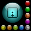 Move object down icons in color illuminated glass buttons - Move object down icons in color illuminated spherical glass buttons on black background. Can be used to black or dark templates