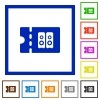 Hi-fi shop discount coupon flat framed icons - Hi-fi shop discount coupon flat color icons in square frames on white background