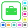 Satchel vivid colored flat icons - Satchel vivid colored flat icons in curved borders on white background