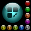 Reduce component icons in color illuminated glass buttons - Reduce component icons in color illuminated spherical glass buttons on black background. Can be used to black or dark templates