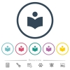 Library flat color icons in round outlines - Library flat color icons in round outlines. 6 bonus icons included.