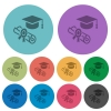 Graduation ceremony darker flat icons on color round background - Graduation ceremony color darker flat icons