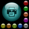 Wireless printer icons in color illuminated glass buttons - Wireless printer icons in color illuminated spherical glass buttons on black background. Can be used to black or dark templates