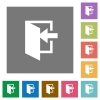 Enter square flat icons - Enter flat icons on simple color square backgrounds