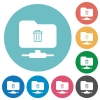 FTP delete flat round icons - FTP delete flat white icons on round color backgrounds