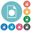Certificate file flat round icons - Certificate file flat white icons on round color backgrounds