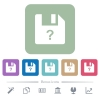Unknown file flat icons on color rounded square backgrounds - Unknown file white flat icons on color rounded square backgrounds. 6 bonus icons included