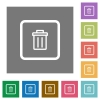 Delete object square flat icons - Delete object flat icons on simple color square backgrounds