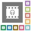 Movie audio square flat icons - Movie audio flat icons on simple color square backgrounds