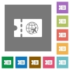 World travel discount coupon square flat icons - World travel discount coupon flat icons on simple color square backgrounds