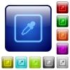 Get object color color square buttons - Get object color icons in rounded square color glossy button set