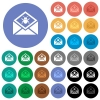 Open mail with malware symbol round flat multi colored icons - Open mail with malware symbol multi colored flat icons on round backgrounds. Included white, light and dark icon variations for hover and active status effects, and bonus shades.