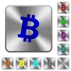 Bitcoin digital cryptocurrency rounded square steel buttons - Bitcoin digital cryptocurrency engraved icons on rounded square glossy steel buttons
