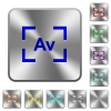 Camera aperture value mode rounded square steel buttons - Camera aperture value mode engraved icons on rounded square glossy steel buttons