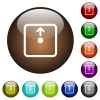 Move object up color glass buttons - Move object up white icons on round color glass buttons