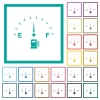 Fuel indicator flat color icons with quadrant frames on white background