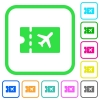 Air travel discount coupon vivid colored flat icons - Air travel discount coupon vivid colored flat icons in curved borders on white background