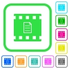 Movie details vivid colored flat icons in curved borders on white background - Movie details vivid colored flat icons