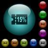 15 percent discount coupon icons in color illuminated glass buttons - 15 percent discount coupon icons in color illuminated spherical glass buttons on black background. Can be used to black or dark templates