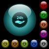 24h service sticker icons in color illuminated glass buttons - 24h service sticker icons in color illuminated spherical glass buttons on black background. Can be used to black or dark templates
