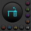 Desk with lamp dark push buttons with color icons - Desk with lamp dark push buttons with vivid color icons on dark grey background