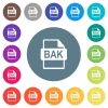 BAK file format flat white icons on round color backgrounds. 17 background color variations are included. - BAK file format flat white icons on round color backgrounds