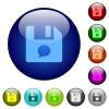 File comment color glass buttons - File comment icons on round color glass buttons