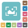 Camera landscape mode rounded square flat icons - Camera landscape mode white flat icons on color rounded square backgrounds