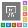 Presentation table with candlestick chart square flat icons - Presentation table with candlestick chart flat icons on simple color square backgrounds