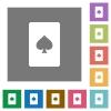 Spades card symbol square flat icons - Spades card symbol flat icons on simple color square backgrounds