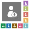 Upload user account square flat icons - Upload user account flat icons on simple color square backgrounds