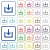 Import item outlined flat color icons - Import item color flat icons in rounded square frames. Thin and thick versions included.
