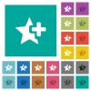 Add star square flat multi colored icons - Add star multi colored flat icons on plain square backgrounds. Included white and darker icon variations for hover or active effects.