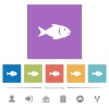 Fish flat white icons in square backgrounds - Fish flat white icons in square backgrounds. 6 bonus icons included.