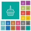 Birthday cupcake square flat multi colored icons - Birthday cupcake multi colored flat icons on plain square backgrounds. Included white and darker icon variations for hover or active effects.