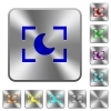Camera night mode rounded square steel buttons - Camera night mode engraved icons on rounded square glossy steel buttons