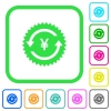 Yen pay back guarantee sticker vivid colored flat icons - Yen pay back guarantee sticker vivid colored flat icons in curved borders on white background