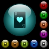 Five of hearts card icons in color illuminated glass buttons - Five of hearts card icons in color illuminated spherical glass buttons on black background. Can be used to black or dark templates