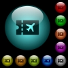 Air travel discount coupon icons in color illuminated glass buttons - Air travel discount coupon icons in color illuminated spherical glass buttons on black background. Can be used to black or dark templates