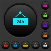 hanging table with 24h dark push buttons with vivid color icons on dark grey background