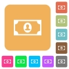 Single banknote  with portrait rounded square flat icons - Single banknote  with portrait flat icons on rounded square vivid color backgrounds.